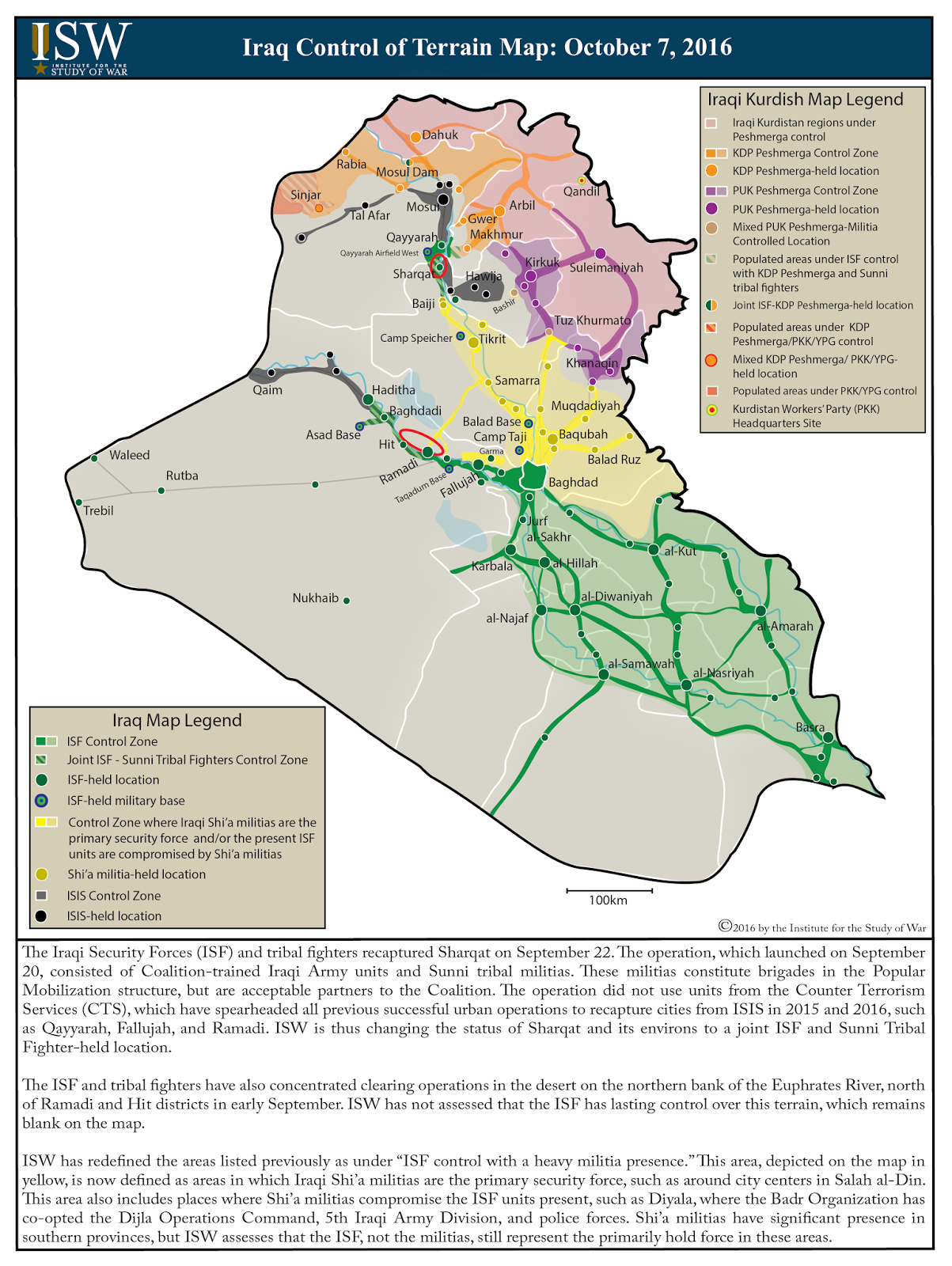 iraqi army division and police forces shia militias have significant presence in southern provinces but isw assesses that the isf not the militias