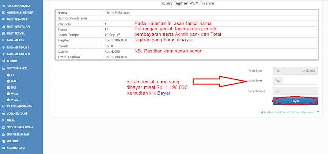 Panduan Transaksi Pembayaran tagihan WOM Finance di PPOB Digital Pay