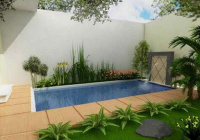 Great design swimming pool for narrow home yard