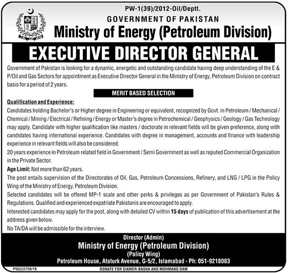 Latest Ministry Of Energy Petroleum Division Govt Of Pakistan Jobs 2019  Executive Director General Required