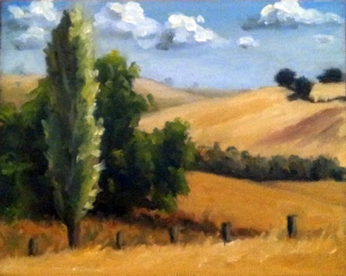 Oil painting of a poplar and a willow tree, with fence posts in the foreground and rolling hills in the background.
