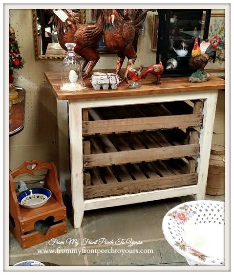 Vintage Kitchen Island-A Day Antiquing- Antique Shopping