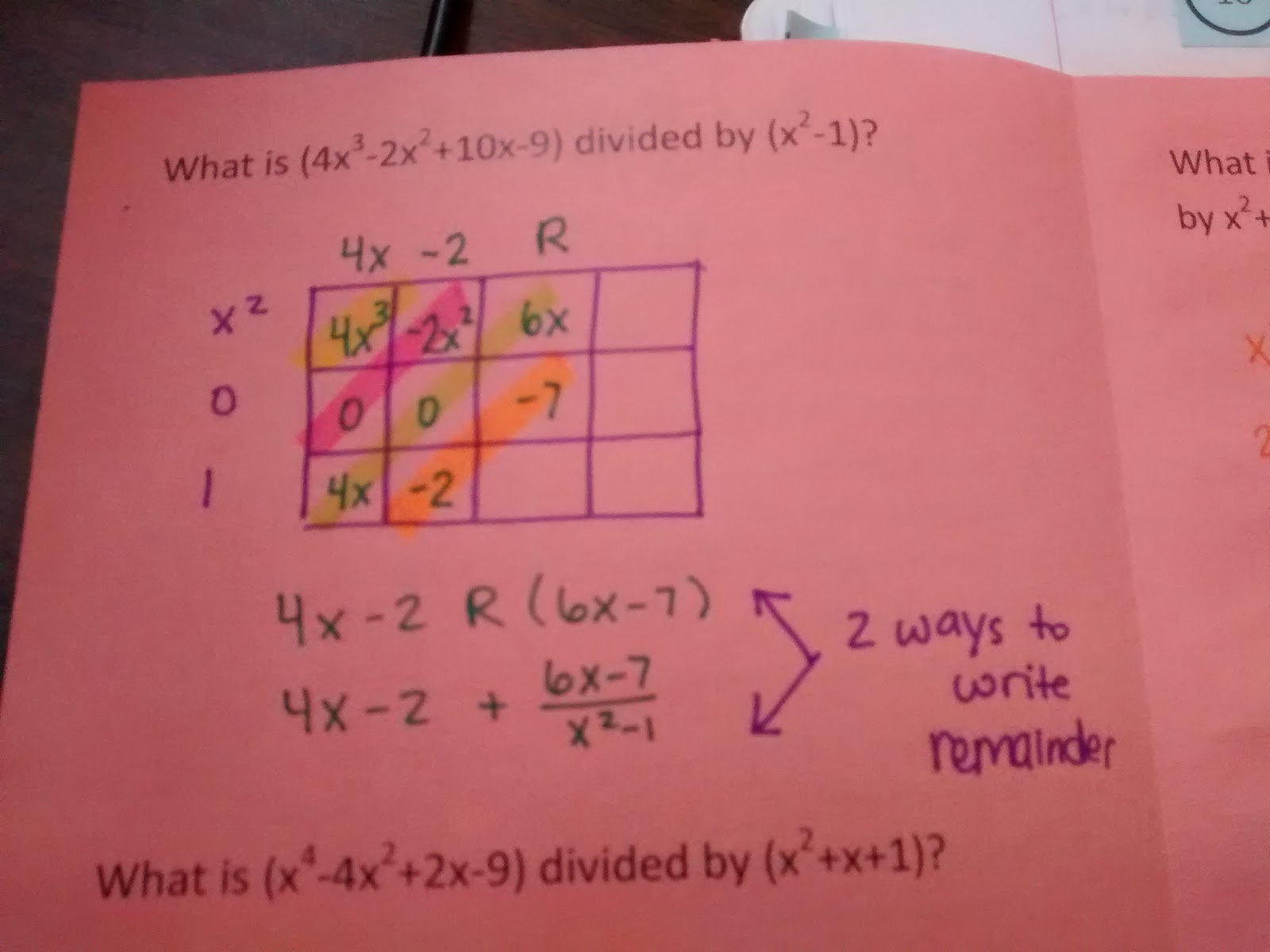 Math Love Dividing Polynomials Using The Box Method