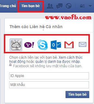 Tìm bạn bè trên Facbeook từ tài khoản Gmail, Yhaoo, SKype, Outlook