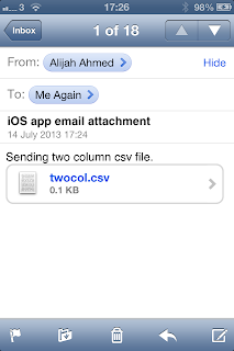 Importing email attachment CSV file into iOS App