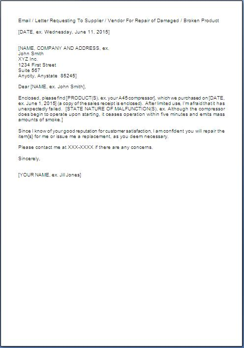Replacement Request Letter Sample Format