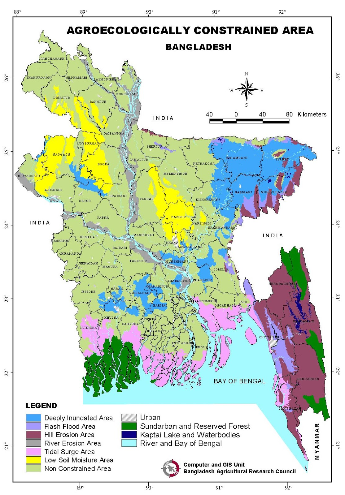 Agroecologically Constrained Areas Map Bangladesh