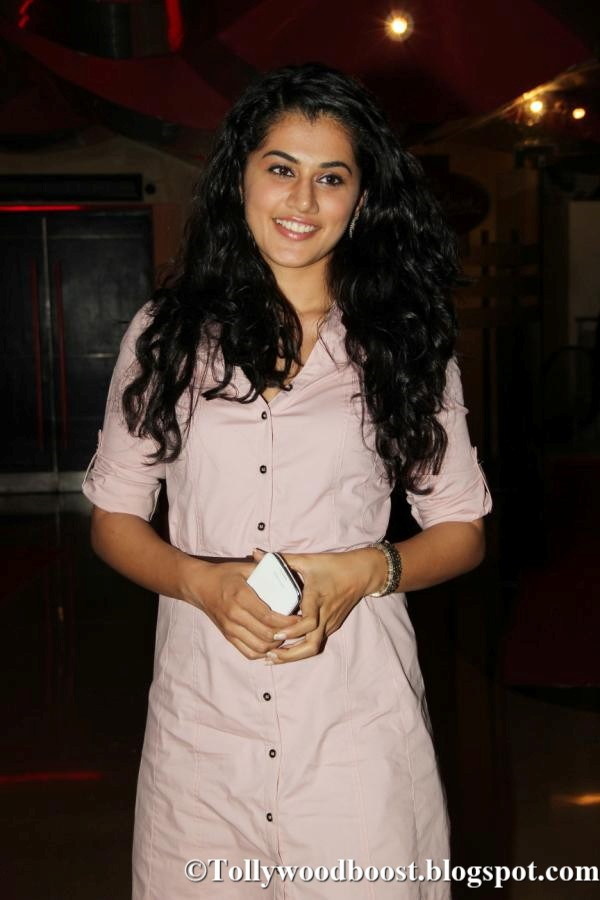 Taapsee Pannu In Pink Shirt At Hindi Movie Premiere Show