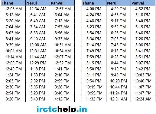 Thane - Nerul - Panvel Mumbai Local Train Time Table