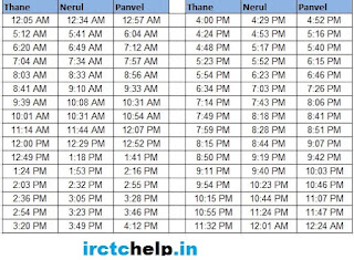 Thane to Panvel Mumbai Local Time Table eff from October 2017
