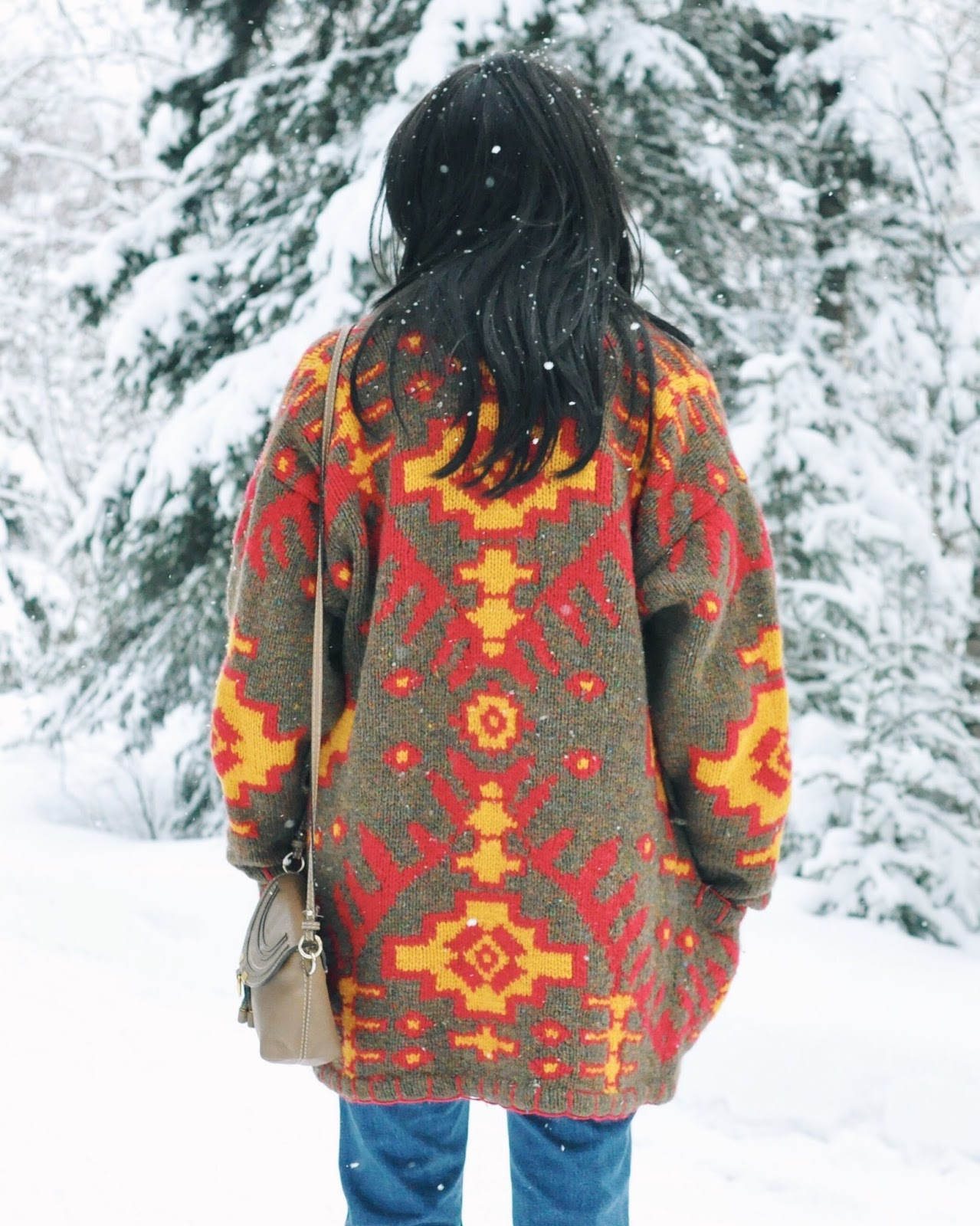 Winter Alaska fashion style thrifted vintage