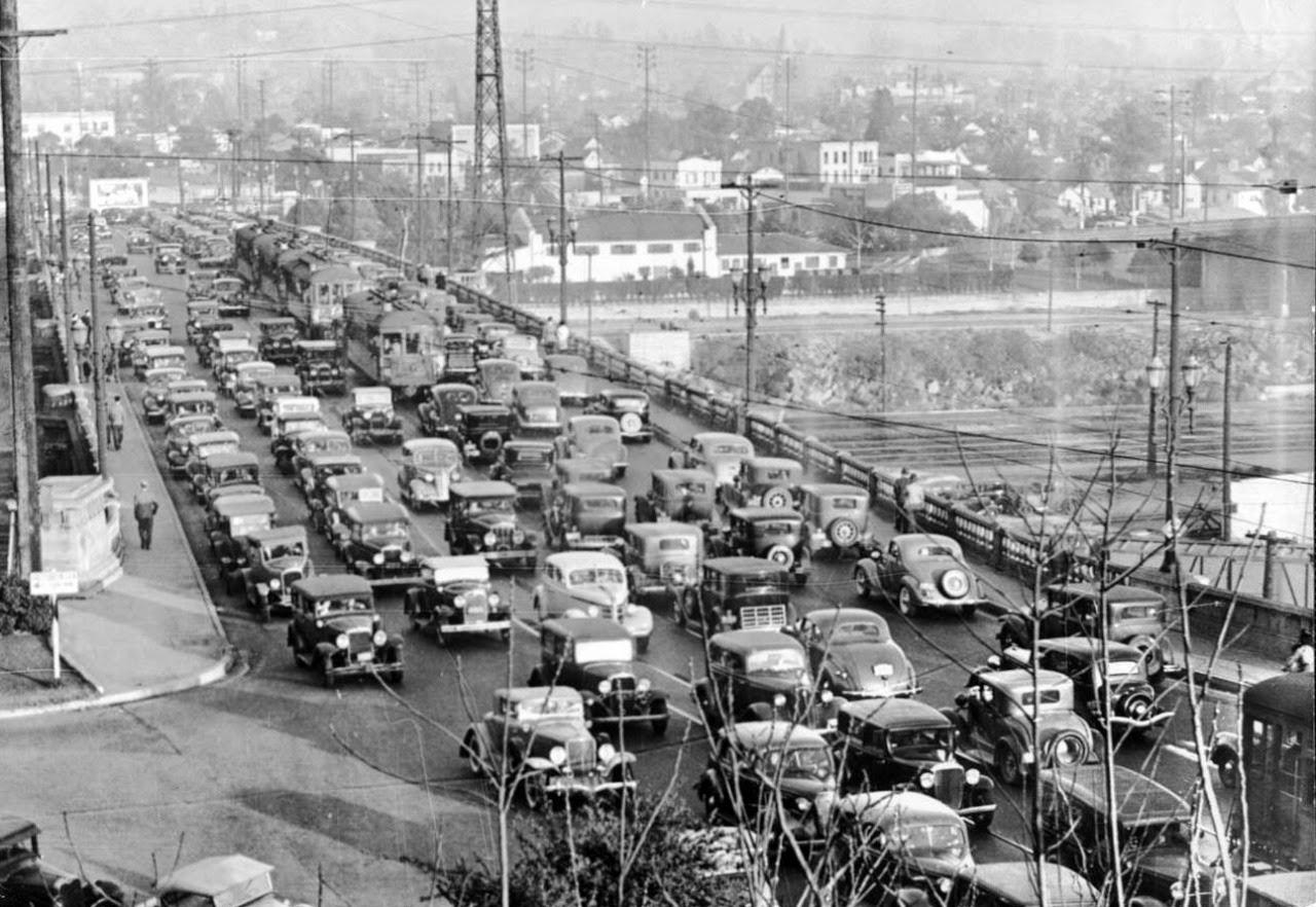 Traffic Jam On The Broadway Bridge Over The Los Angeles