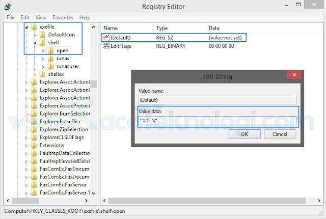 """Cara mengatasi file exe yang tidak bisa dibuka pada windows 7/8/8.1/10. Masalah ini bisa muncul dikarenakan adanya virus, kerusakan sistem, atau ada perubahan registry pada Windows sendiri. Maka dari itu, ketika kita akan menjalankan file yang berekstensi exe maka akan muncul sebuah pesan yang bertuliskan """"Windows can't open this type of file (.exe)"""" bahwa jenis file ini tidak dikenali atau mungkin tidak muncul reaksi apa-apa meskipun anda sudah menjalankan file exe."""