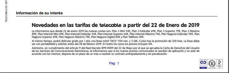 Factura Telecable subida precios