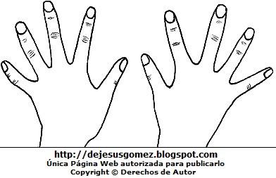 Dibujo de manos para colorear, pintar e imprimir. Dibujo de manos de Jesus Gómez