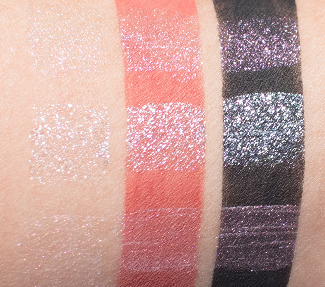 Darling Girl Glitter Potion Lip Toppers in Charmed, Divine, and Ritual arm swatches