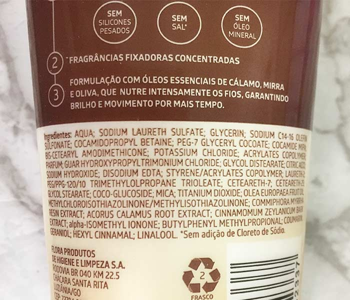 Ingredientes do shampoo Ox Nutrição Intensa