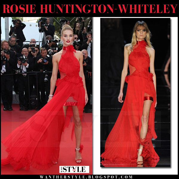 Rosie Huntington-Whiteley in red high neck gown alexandre vauthier cannes red carpet 2016 what she wore