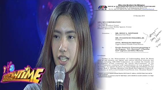 "MTRCB On Wednesday, Releases Results of GAD Meeting For It's Showtime ""Pastillas Girl"" Segment"