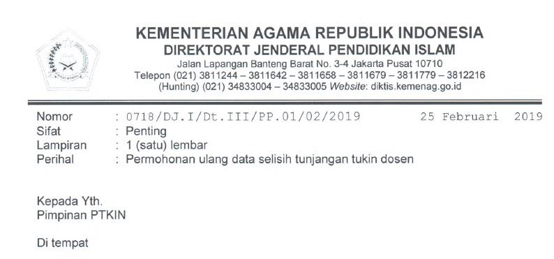 Info Kemenag wacana Surat Permohonan Ulang Data Selisih Tunjangan Tukin Dosen Tahun  Surat Permohonan Ulang Data Selisih Tunjangan Tukin Dosen Tahun 2019
