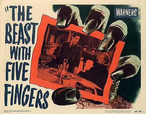 The beast with five fingers (1946) / Poster de la película.