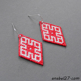купить серьги со славянскими символами красные с белым орнамент бисер