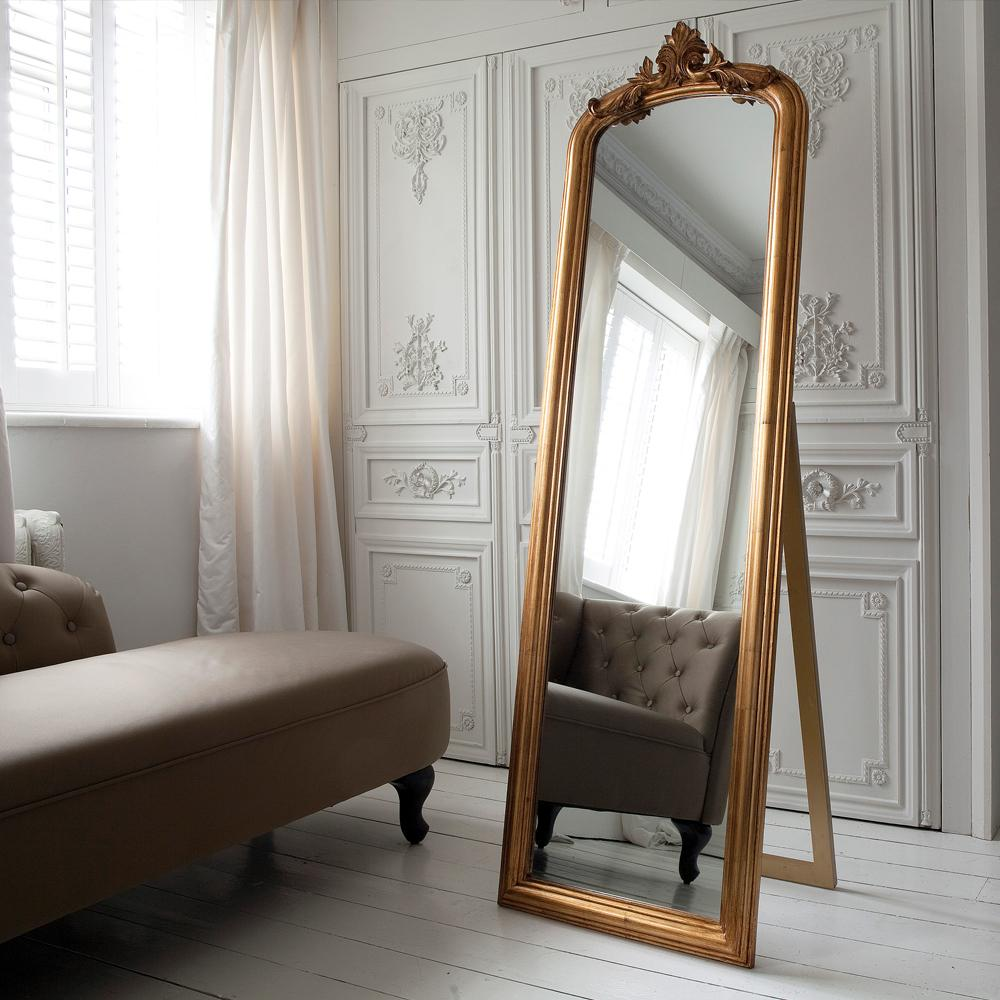 Eye for design decorate with large ornate leaning mirrors for Gold frame floor mirror