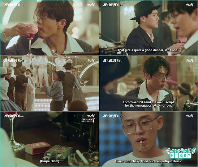 So Joo saw carpe diem at his writing table and flash back scene from 1930 - Chicago Typewriter: Episode 2