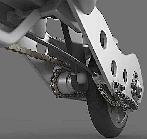 vue du mecanisme de la trottinette Pulse Scooter