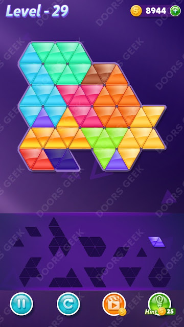 Block! Triangle Puzzle 12 Mania Level 29 Solution, Cheats, Walkthrough for Android, iPhone, iPad and iPod