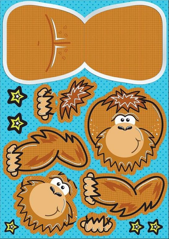 Cute Gorilla Free Printable Paper Toy.
