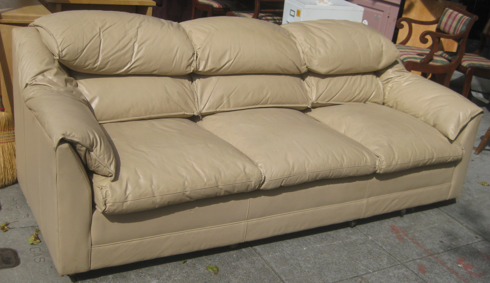 Beige Leather Sofa  TheSofa