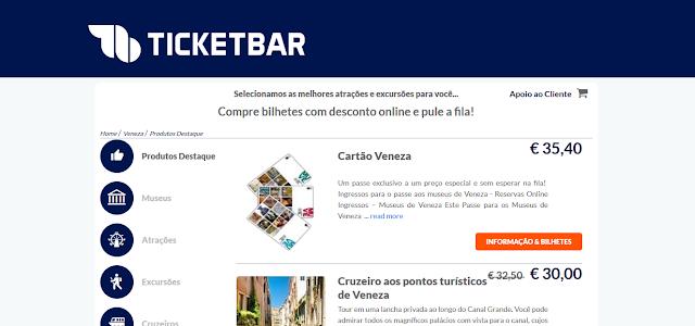 Ticketbar para ingressos em Veneza