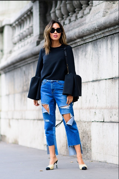 Song of Style wearing bell sleeves top with ripped jeans and chanel shoes