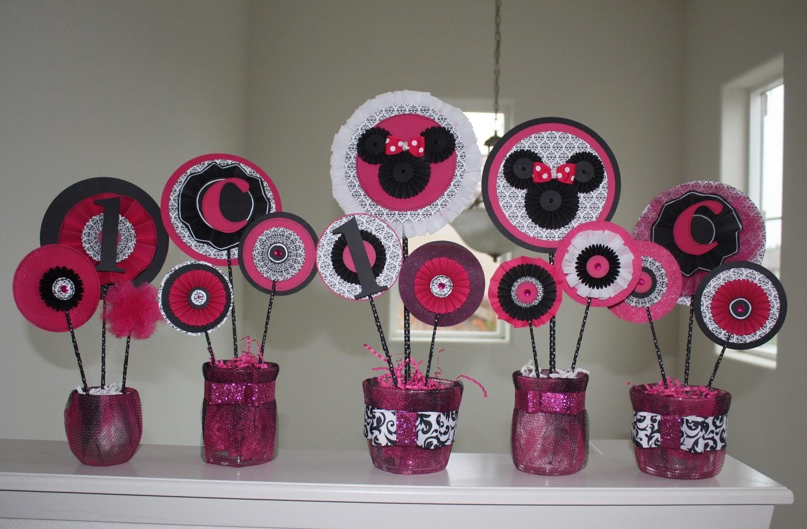 Thepinkape Minnie Mouse Birthday Decor Sesame Street Decoration First Centerpieces
