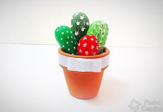 piedras, pintura, rocas, cactus