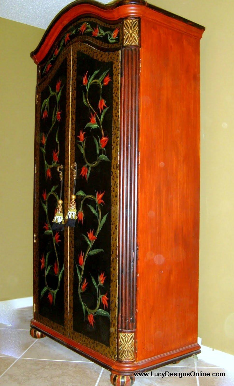 Hand Painted Floral Armoire And Diamond Harlequin Pattern