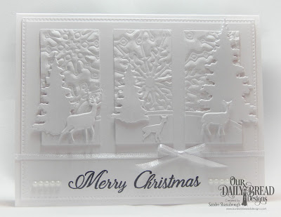 Our Daily Bread Designs Stamp Set: Card Greetings, Custom Dies: Trees and Deer, Curvy Slopes, Snowflake Sky, Pierced Rectangles