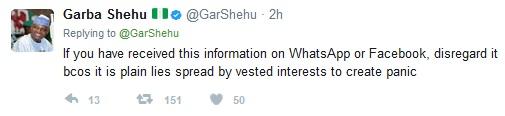 Garba Shehu tweet