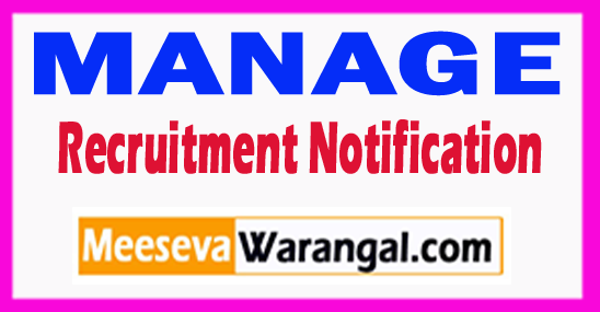 MANAGE National Institute of Agricultural Extension Management Recruitment Notification 2017