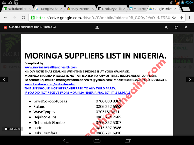 Moringa suppliers list