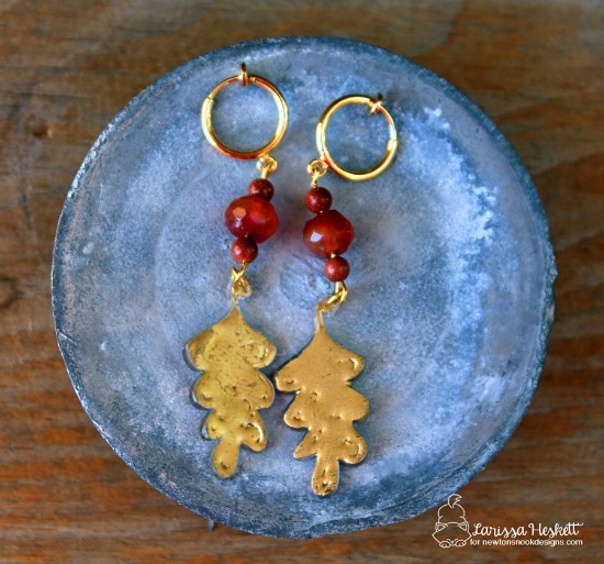 Beautiful Double-sided Leaf Earrings by Larissa Heskett | Beautiful Leaves Stamp set by Newton's Nook Designs #newtonsnook