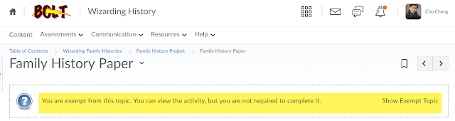 screenshot of linked activity content topic with the text You are exempt from this topic. You can view the activity but you are not required to complete it.