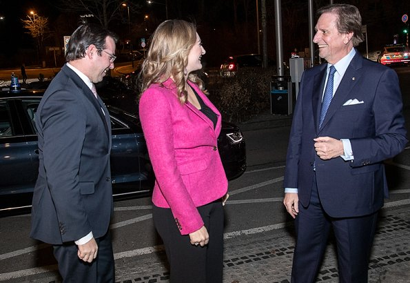 Princess Stephanie and Prince Guillaume attend Hands of Masters awards. Stephanie Pink One Button Cotton Blazer