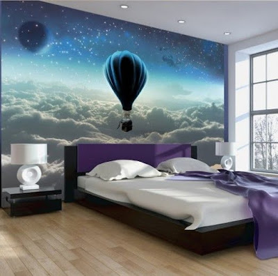 3D mural wallpaper ideas for walls behind bed