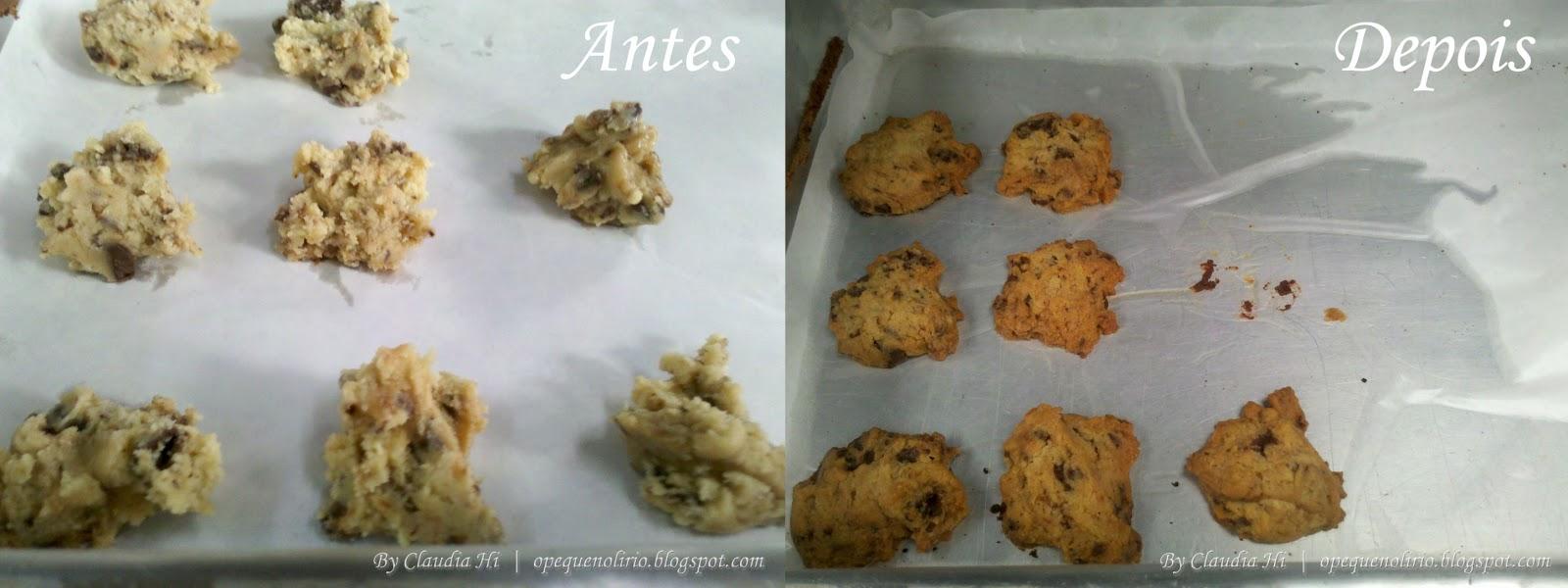 Cookies com Gotas de Chocolate antes e depois