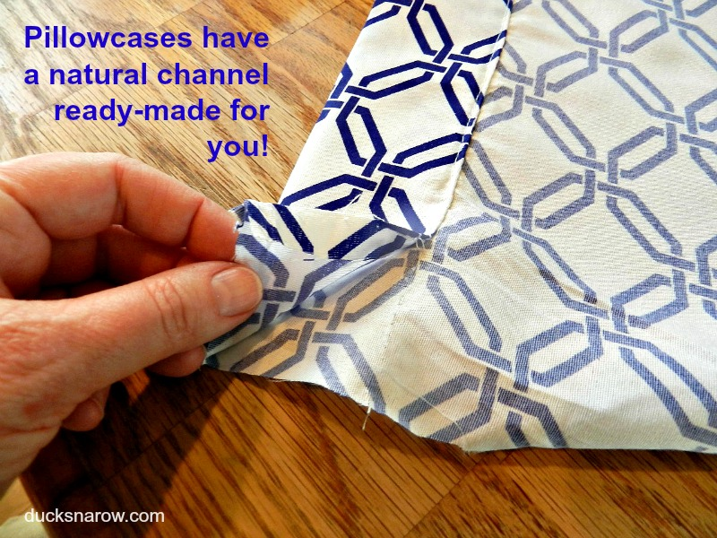 how to make a drawstring bag out of a pillowcase