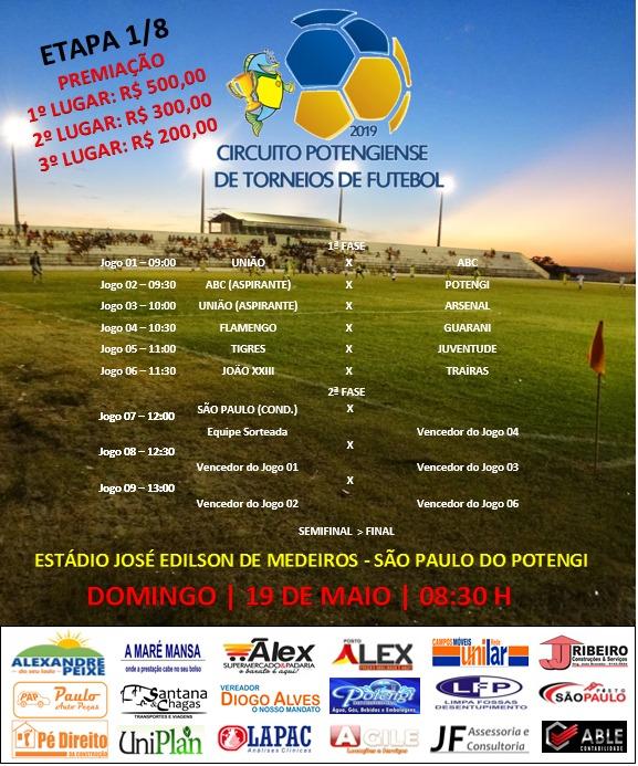 São Paulo do Potengi: Neste Domingo dia (19) tem o 1º Circuito Potengiense de Torneios de Futebol