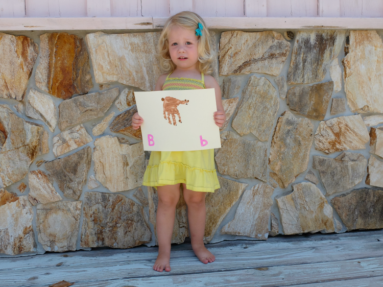 B is for Bear, hand print crafts