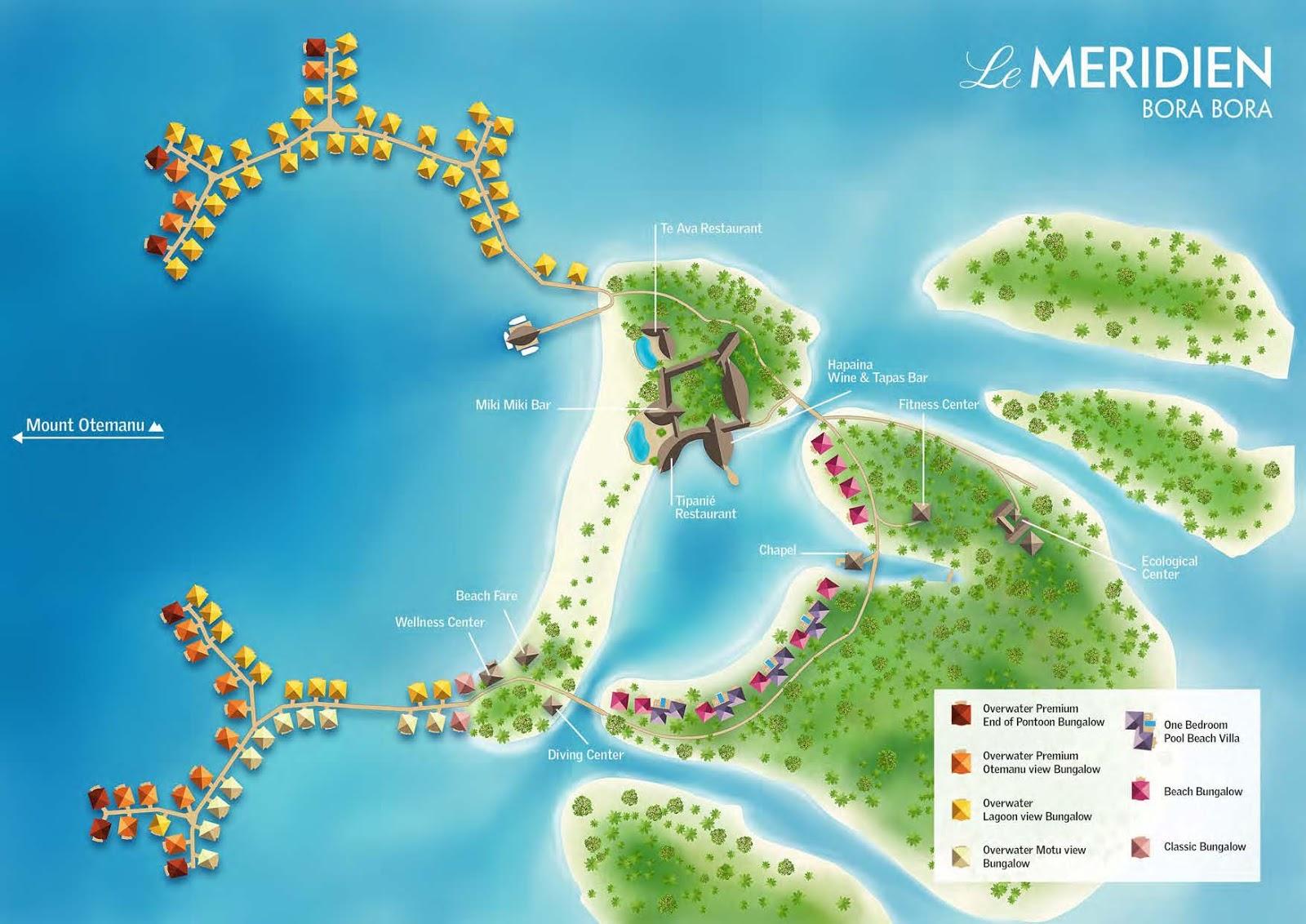 Bora Bora 艾美酒店各種房型位置示意圖